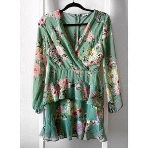 Love, Fire Green Floral Ruffle Dress
